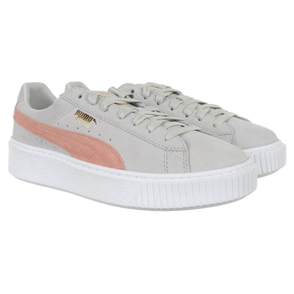 a57a75a1085433 Women s Puma Suede Platform SD Gray Shoes Leather Upper Sneakers Iconic  Trainers