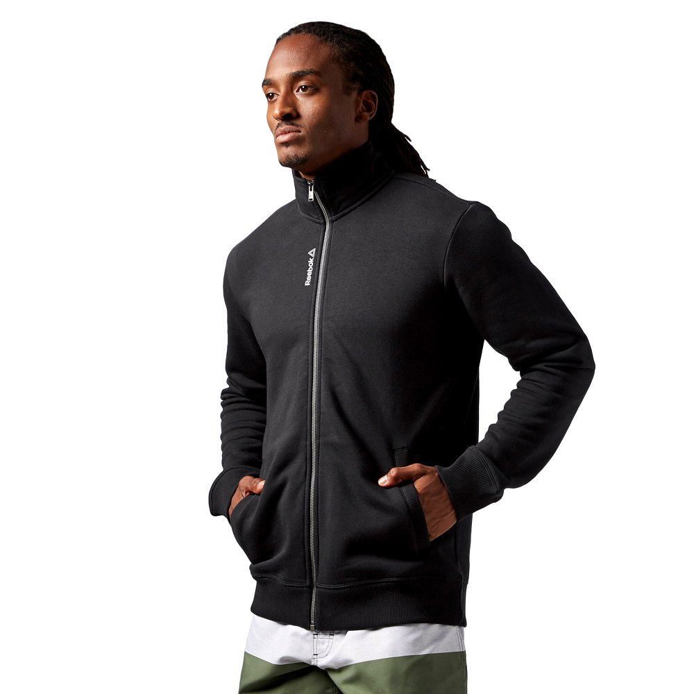 Details about Reebok Elements Track Jacket Full Zip Collared Sweatshirt Casual Black