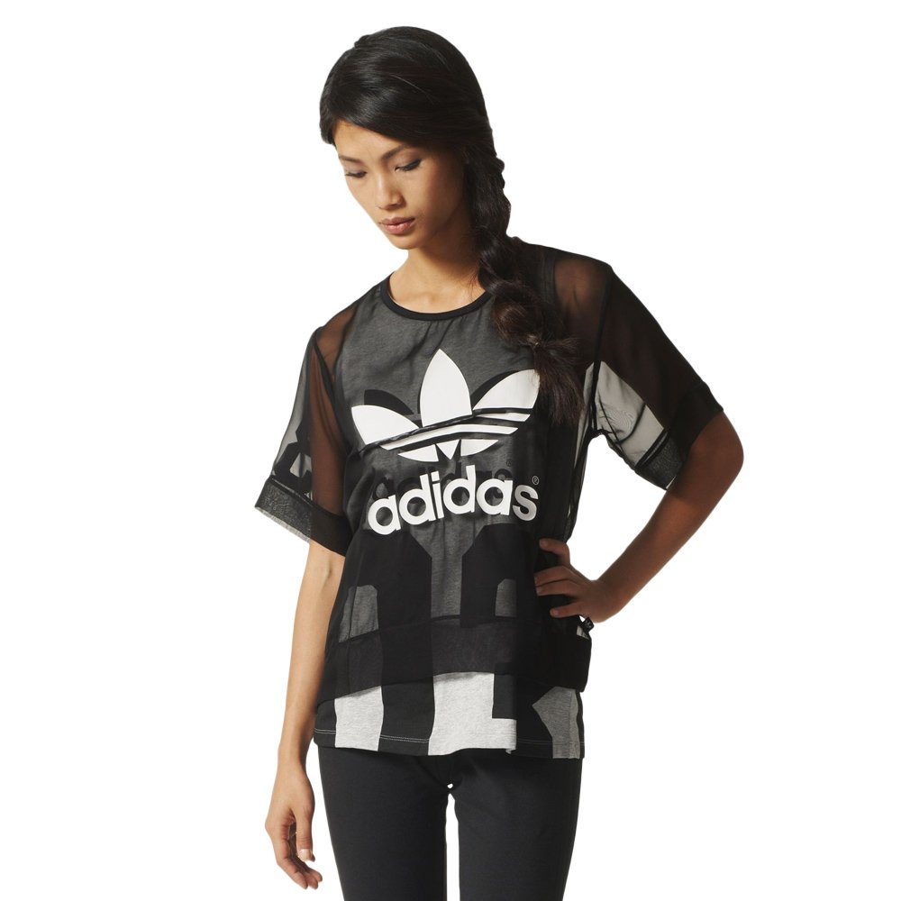 83d42cda adidas Originals Basketball Logo Tee Women's Meshed Short Sleeve Top Black  Tee AJ8863 1 ...