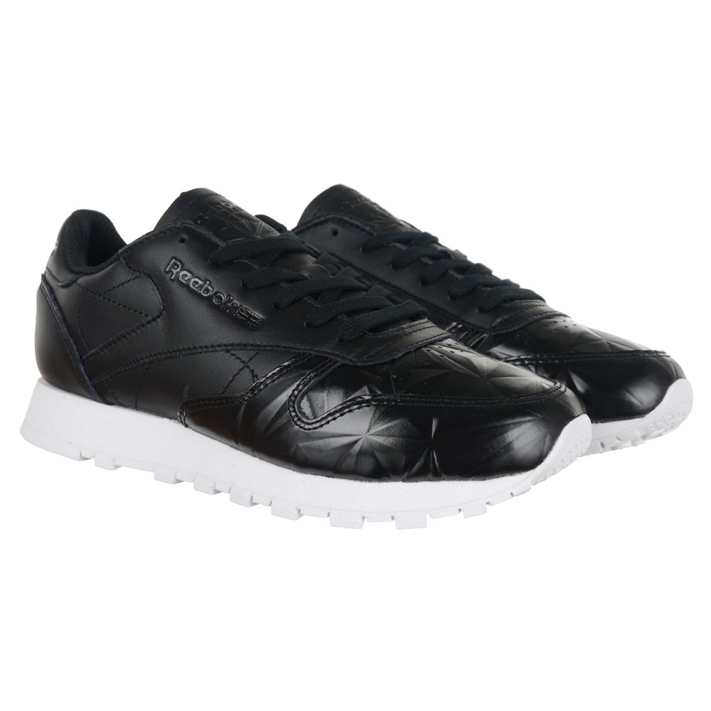 Details about Reebok Classic Leather Hype Metallic Womens Sports Sneakers Black Trainers Shoe