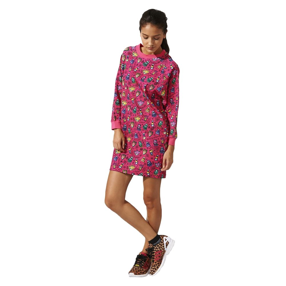 Adidas Originals Jeremy Scott KS Sweater Womens Oversize Jumper Dress Pink  M63885 1 ... 52f9b8713a8