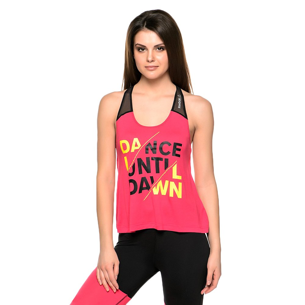 5987f844755 Details about Reebok Dance Studio Graphic Tank PlayDry Pink Wicking Workout  Gym Shirt Top