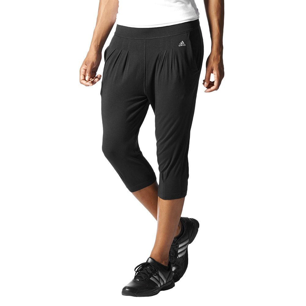 Details about Womens Adidas Studio Pure Drapy 3/4 Pants Dance Fitness  Cropped Trousers Black- show original title