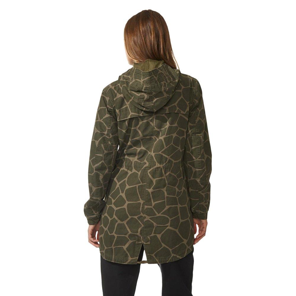663891fa0400 ... adidas Originals Womens Giraffe Woven Parka Jacket Khaki Full Zip  Hooded Coat M30535 2