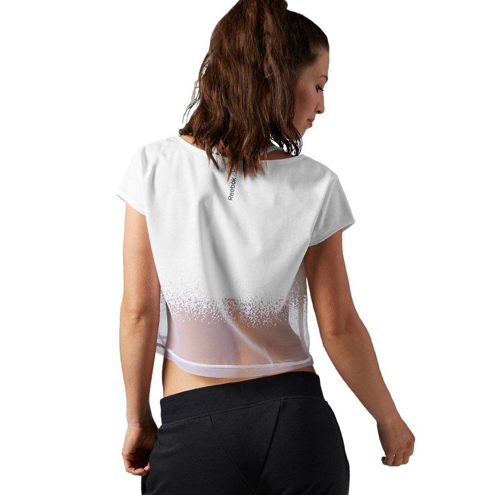 Reebok Studio Dance Mesh Coverup Women/'s White Short Sleeve Cropped Top T-Shirt