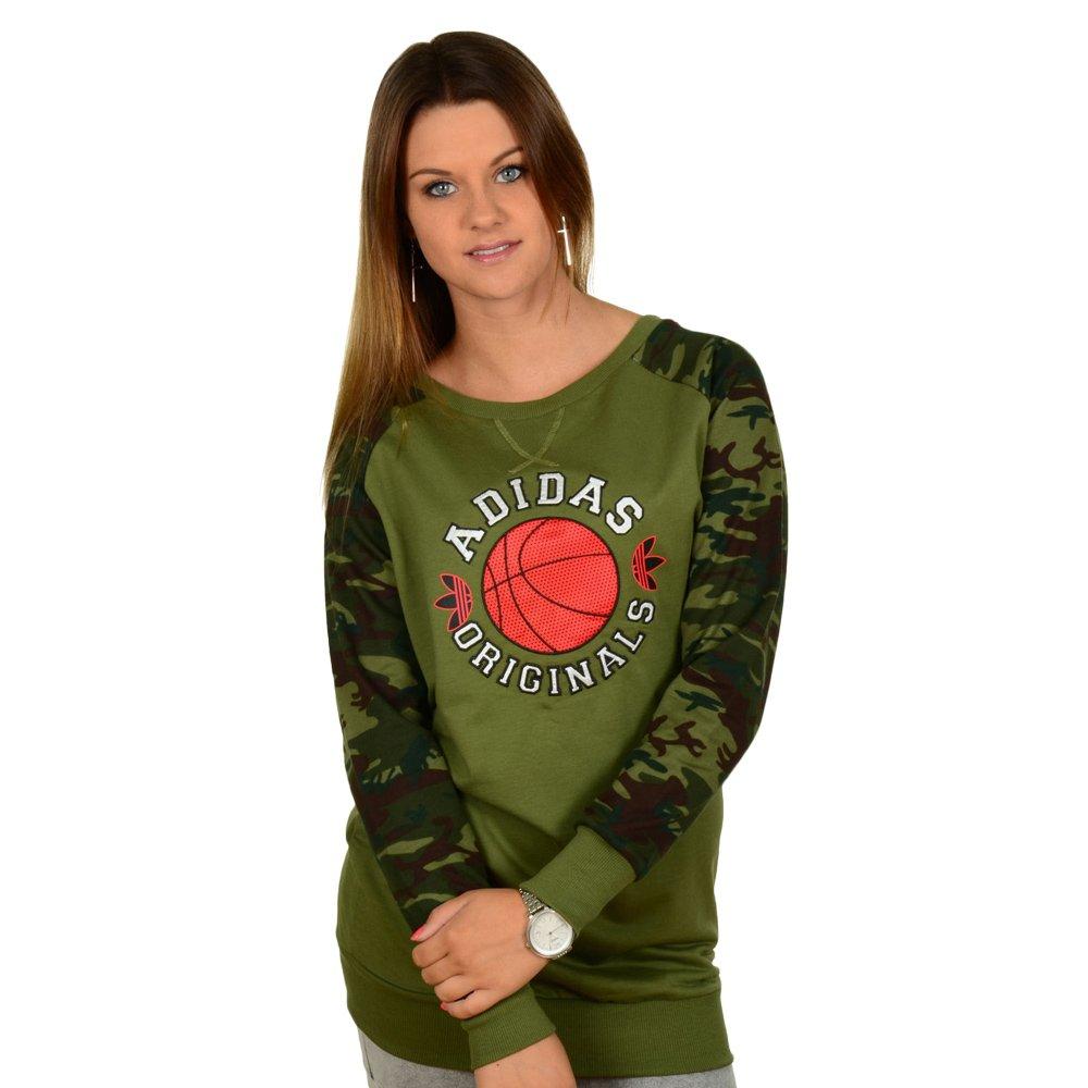 26a896a70c84 Details about Women's Sweatshirt Adidas Originals Basketball Dress Green Camo  Long Sleeve Tee