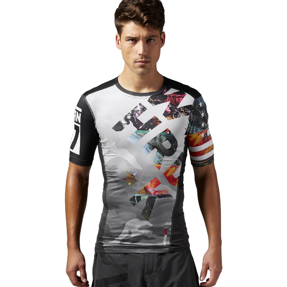 c45c7cc5810e Details about Reebok ONE Series Pow3r Short Sleeve Compression ActivChill  Tee Training T-Shirt