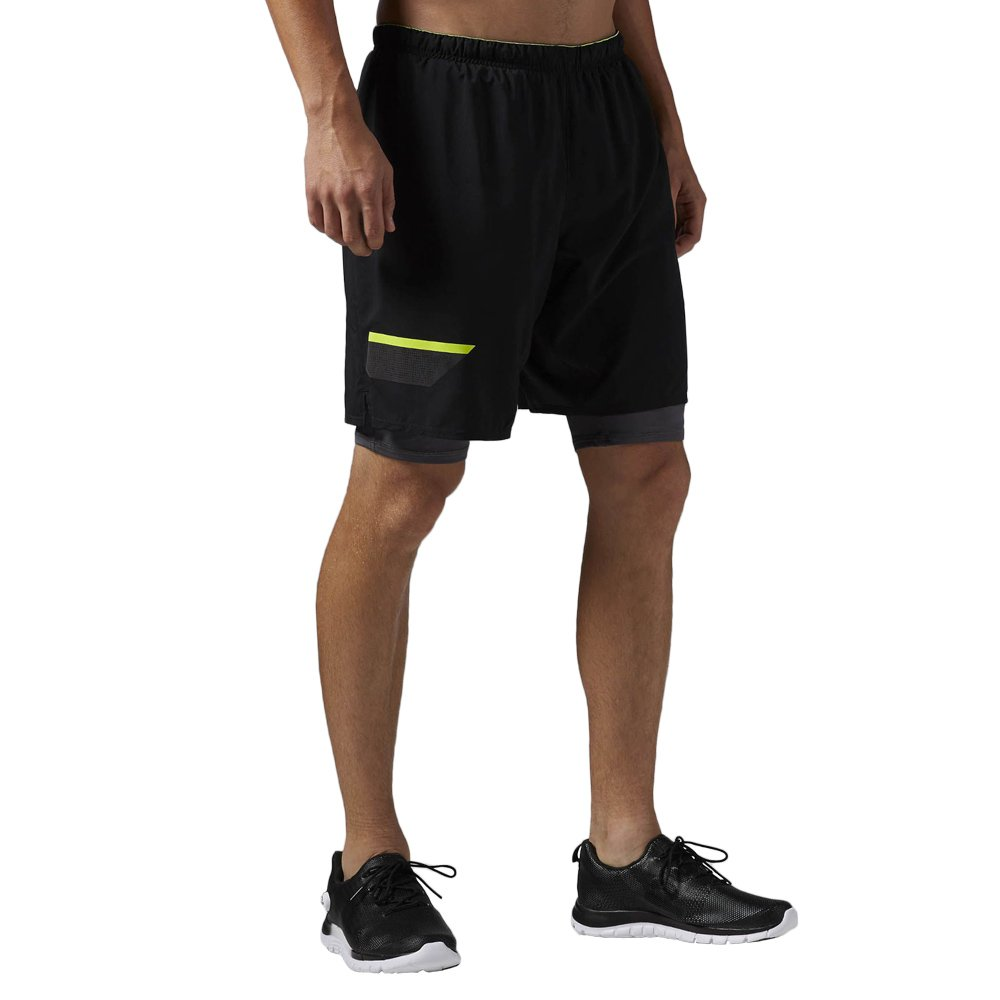Details about Mens Gym Shorts Reebok ONE Series Running 2 in 1 Short Black Training Wicking