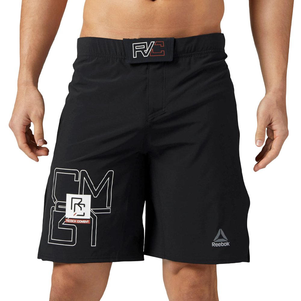 Men/'s Reebok Combat MMA Shorts Martial Arts Training Wicking Black Gym