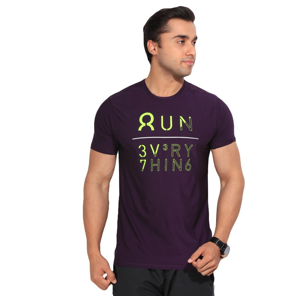 08acc2531385f1 Details about Reebok Men s Purple OSR M SS GRPH sports T-shirt Training Tee