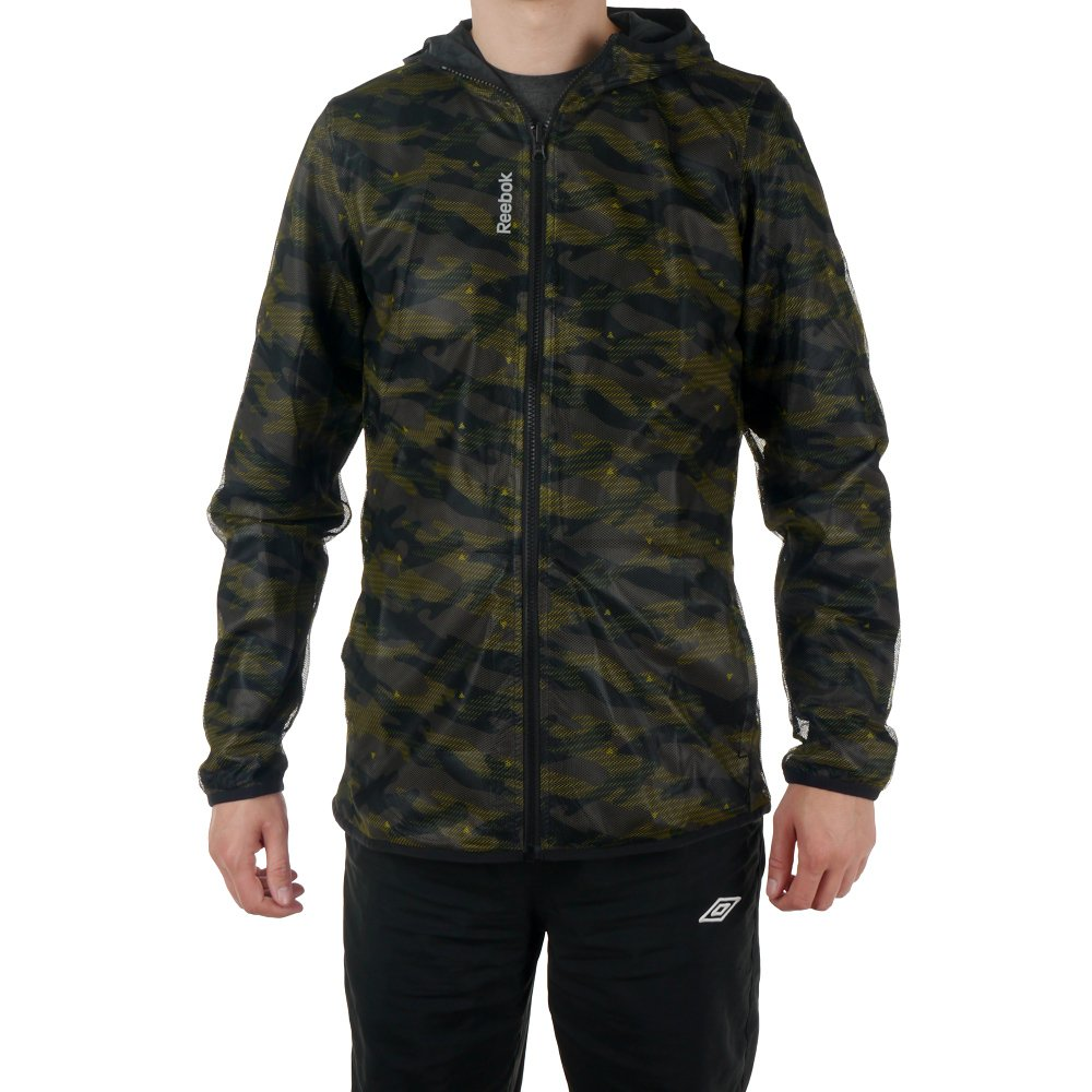 78ccf5f74c Details about Jacket Reebok LTHS Workout All Over Print Mens Windbreaker  Reversible Camo