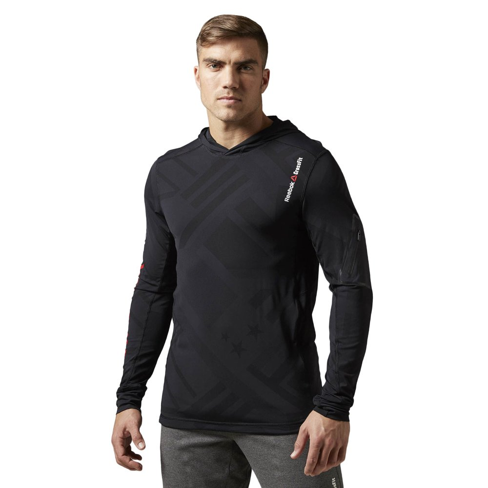 Détails sur Reebok crossfit cordura jacquard à capuche homme training noir sweat à capuche afficher le titre d'origine