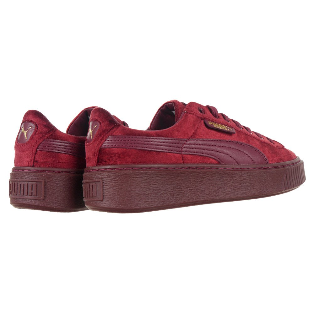 1cd41e4af03 Puma Basket Platform Velvet Women s Sneakers Sports Trainers Red Casual  Shoes