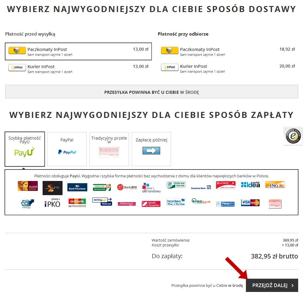 Opcje dostawy, oraz sposoby zapłaty