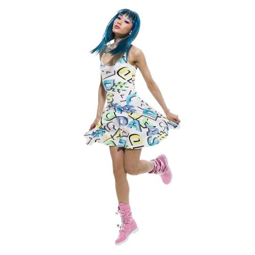 Sukienka Adidas Originals Jeremy Scott Graphic Dress rozkloszowana